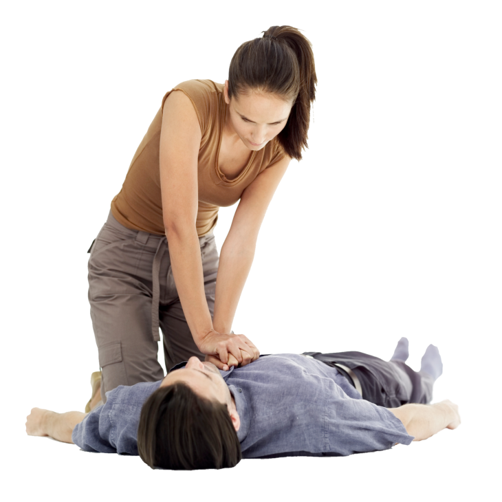 a woman doing first aid treatment to a man
